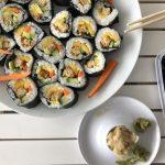 """Vegan crispy """"chicken"""" sushi"""