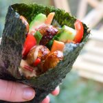 Vegan temaki sushi handrolls